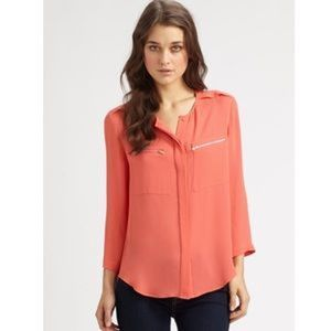 theory | Size M Coral Brundia Silk Blouse Top